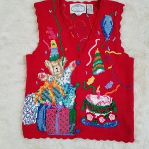 vintage 90s gaudy birthday bear vest ugly sweater